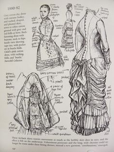 Victorian fashion plate, illustration from (unknown) book. Grey cotton day dress with cuirasse bodice and ruched, draped and pleated skirt, sewn to white cotton ground with grey and red frills at hem. Tie back skirts. Source by isagoren fashion dress 1800s Fashion, 19th Century Fashion, Edwardian Fashion, Vintage Fashion, Fashion Goth, Trendy Fashion, Victorian Gown, Victorian Costume, Historical Costume