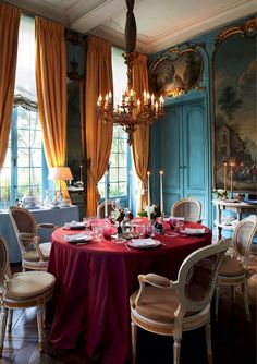 Dining room of Hotel Verhaegen, a uniquely well preserved 18th century hotel and private mansion, located in the city center of Ghent - Belgium.