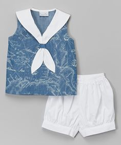 Look at this Blue Sleeveless Sailor Top & Shorts - Infant & Toddler on #zulily today!