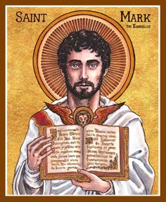 """Mark the Evangelist icon April 2013 x 6 inches Ink, watercolor, gold leaf """"O blessed Mark, O voice of God, as an apostle of Christ y. Mark the Evangelist Catholic Art, Catholic Saints, Patron Saints, Roman Catholic, Religious Images, Religious Art, Religious Icons, San Marcos Evangelista, St Mark The Evangelist"""