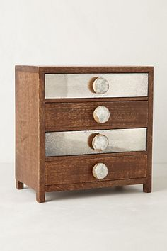 Petite Bureau Jewelry Box #anthropologie, would be so easy to spray paint some drawers metal & knobs!!