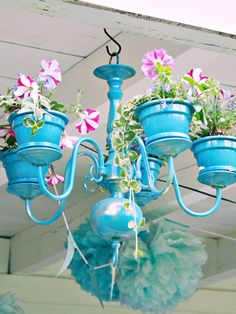 Recycled chandelier #DIY #garden
