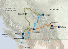 Trains and destinations in Canada