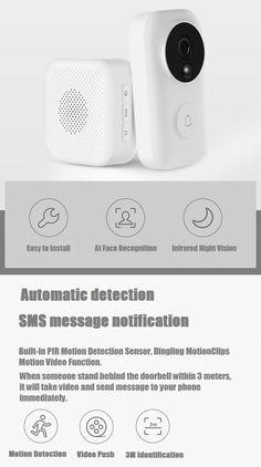Xiaomi Zero AI Face Identification 720P IR Night Vision Video Doorbell Set Motion Detection SMS Push Intercom Free Cloud Storage Motion Video, Hd Video, Free Cloud Storage, Take Video, Sms Message, Phone Messages, Intercom, Security Surveillance, Photography Camera