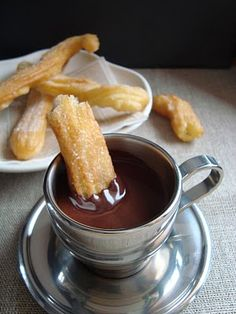 Churros and Chocolate: Had this in Spain & it was Amazing!! Once you were done w/the churros just add milk to the chocolate and then have hot chocolate:)