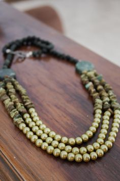 3 Strands Necklace  Statement Necklace  Pearl by EnzoJewels, $47