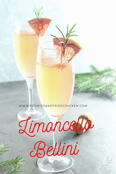 Limoncello Bellini – Peonies and Fried Chicken Brunch anyone? I just love a fancy drink in a fun glass. The next ladies brunch I have, I am serving this super easy, tasty Bellini. I know what you all are thinking…enough with the limon… Refreshing Cocktails, Summer Cocktails, Cocktail Drinks, Alcoholic Drinks, Beverages, Cocktail Recipes, Limoncello Cocktails, Italian Cocktails, Bebe