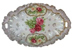 Prussia Roses & Grapes Bread Tray
