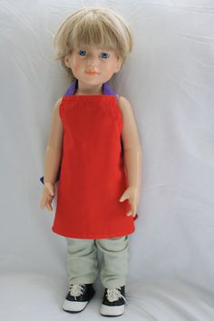 Doll Apron Red Purple American Girl 18 inch Doll Apron with Pruple Tea Towel