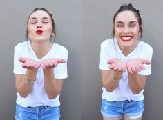 white tees & red lips #thewhitetee #style