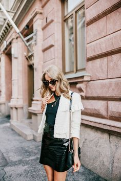 Black & white fall outfit with a classic tweed jacket, leather skirt and a Rebecca Minkoff bag - Anna Pauliina, Arctic Vanilla blog.