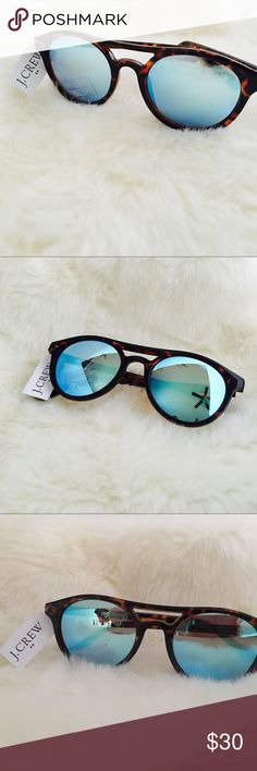 J. CREW Top Bar Tortoise Sunnies Blue Mirrored Ultra fashionable top bar tortoise sunnies with blue Mirrored lenses. So cool, I have hers and wear them exclusively and EVERYONE complements and inquires. J. Crew Accessories Sunglasses