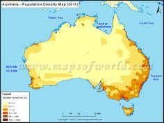 This map shows the population density in Australia. The dark places show where the most people live.  Compare this to the map showing rainfall and the map showing the deserts. Can you spot any patterns?