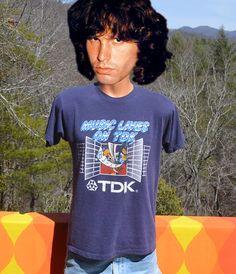 80s vintage tee shirt TDK rock music lives on band by skippyhaha