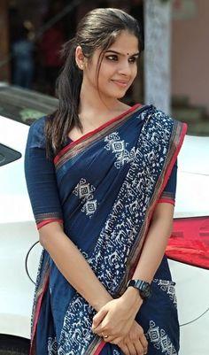 Cotton Saree Elegant Indian Sari CLICK Visit link above for more options Saris, Indigo Saree, Cotton Saree Designs, Modern Saree, Simple Sarees, Casual Saree, Formal Saree, Saree Trends, Saree Models