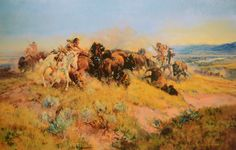 Buffalo Hunt #40 (Limited Edition)  Russell, though he never saw an actual buffalo hunt, was enamored of the excitement and created many pai...