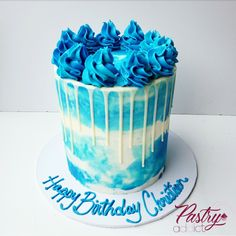 White buttercream base with blue watercolor pattern and blue buttercream dollops on top. Call or email us today to design your dream cake! Birthday Drip Cake, Buttercream Birthday Cake, Buttercream Cake Designs, White Birthday Cakes, White Buttercream, Birthday Cakes For Men, Watercolor Cake, Watercolor Pattern, Blue Drip Cake