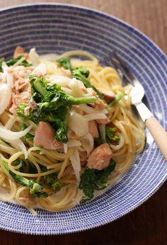 塩鮭と菜の花のクリームスパゲッティ