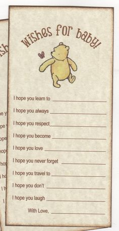 Classic Winnie The Pooh Baby Shower Wishes Advice Cards Wishes For Baby Advice For Parents New Mom Cards – Vintage Style – Set of 10 Cards Winnie the Pooh Babyparty wünscht Rat Karten Rustikal Fiesta Baby Shower, Baby Shower Niño, Shower Bebe, Baby Shower Games, Baby Shower Parties, Baby Boy Shower, Themes For Baby Showers, Baby Shower Vintage, Baby Shower Quotes