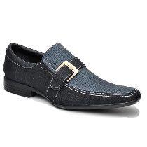 Sapato Social Masculino Pisa Soft Jeans E Couro Preto