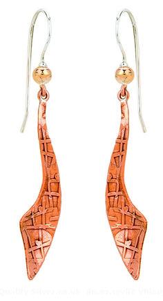Tianguis Jackson Copper and Silver Textured Cutlass Drop Earrings