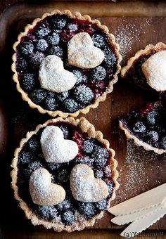 Blueberry tarts with hearts