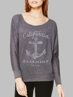 9730b16db843 Dark Grey Heather CA Dreaming Anchor Long Sleeve Tee. I need to come back to