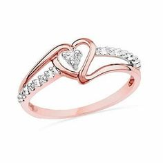 Diamond Accent Heart Promise Ring in 10K Rose Gold | Promise Rings | Wedding | Zales