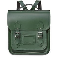Cambridge Satchel Small Portrait Backpack ($600) ❤ liked on Polyvore featuring bags, backpacks, green, green leather bag, green bags, buckle backpacks, the cambridge satchel company and pocket backpack