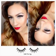 Every bride wants to feel glamorous on their big day. Create this alluring look by with Velour Lashes 'Doll Me Up' Red Lip Makeup, Love Makeup, Makeup Looks, Hair Makeup, Amazing Makeup, Faux Lashes, Velour Lashes, Hollywood Glamour Makeup, Bridal Makeup