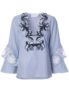 Shop Tanya Taylor embroidered floral neck tunic