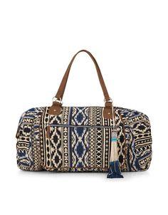 Azure Woven Weekender Bag