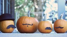 Mustached jacks- No-Carve Pumpkin Decorating Ideas for Kids I Halloween Crafts for Kids - ParentMap