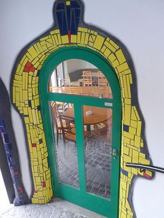 the Hundertwasser inspired Market Place in Altenrhein- colorful, original and worth a stop. Hundertwasser was an Austrian artist, see: Entrance Doors, Doorway, Friedensreich Hundertwasser, Cool Doors, Wow Art, Mosaic Art, Stairways, Art And Architecture, Windows And Doors