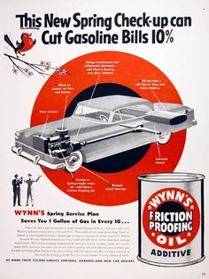 1953 Wynn's Motor Oil Additive original vintage advertisement. Wynn's added to your regular lubricants boosts gas mileage an average of better than 10%.
