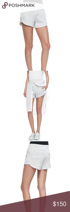 $210 Helmut Lang Spring Sweatshirt Knit Shorts NEW WITH TAGS  $210  Helmut Lang Spring Sweatshirt-Knit Drawstring Shorts  Women size Large  Helmut Lang shorts in soft, sweatshirt knit. Low rise. Smocked, drawstring waist. Relaxed legs. Cotton/Tencel® lyocell Helmut Lang Shorts