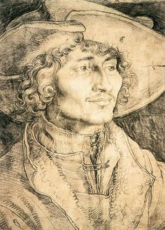 Albrecht Durer (German, 21 May 1471 – 6 April 1528), drawing of a young man.