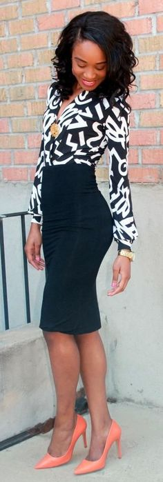 """Pencil skirt + Printed blouse"" by My Versicolor Closet"