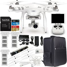 DJI Phantom 3 Advanced Quadcopter w 1080p HD Video Camera  Manufacturer Accessories  2 DJI Batteries  WaterResistant Backpack  7PC Filter Kit UVCPLND2400HoodStabilizer  MORE ** Want to know more, click on the image.