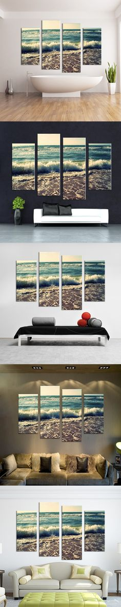 2015 4PCS oil painting Under the waves of the beach Wall Art Home Decoration Living Room Print On Canvas Modern oil Painting $42.28
