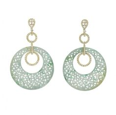 Green jade and diamond earrings set in 18k yellow gold by Rina Limor
