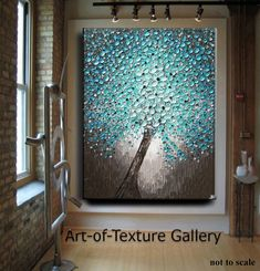 Huge Oil Impasto Painting Original Abstract Texture Modern Hallway Aqua Blue Brown White Floral Tree Sculpture Knife Painting by Je Hlobik Oil Painting Texture, Modern Hallway, Knife Painting, Painting Abstract, Tree Sculpture, Metal Sculptures, Window Art, Acrylic Canvas, Button Art