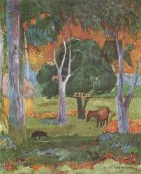 """Paul Gauguin """"Die Landschaft auf La Dominque"""""""