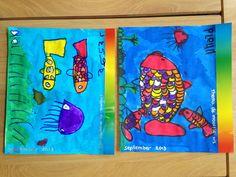 Met watervaste stift vissen en planten tekenen en vervolgens met ecoline inkleuren. Daarna met zilverstift een aantal schubben inkleuren.