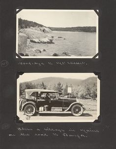 Edward and Margaret Gehrke scrapbook page. Top photo shows landscape of rocks and ocean at Acadia National Park. Bottom shows Margaret Gehrke in auto on the road to Bangor Maine. August 1-October 24, 1922.