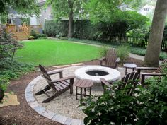 A stand-alone fire pit area sited at the far end of the backyard, in front of the garage.