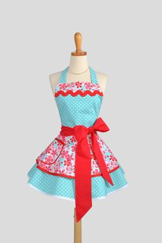 Ruffled Retro Apron / Handmade Flirty Full Womens Apron Featuring Michael Miller Fabrics in Aqua and Red