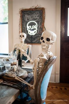 ave you pulled out your dining room decorations for fall? It could be Halloween or Thanksgiving fun items you are … Halloween Scene, Diy Halloween Costumes For Kids, Creepy Halloween, Halloween Skeletons, Halloween Skull, Fall Halloween, Halloween Decorations, Halloween Party, Halloween Tricks