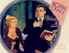 "Lobby card for Joan Blondell and James Cagney in ""Blonde Crazy""."