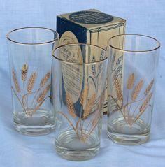 Vintage DUZ Wheat Glasses 22 carat Gold Rims (11) 12 oz Glasses
